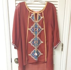 Orange Rust Boho Tribal Embroidered Top M Schona